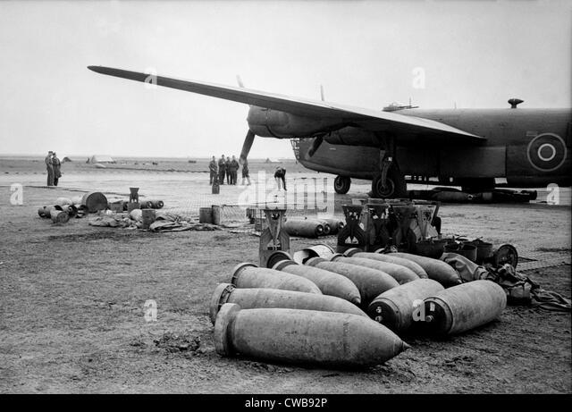 Bombs lie on an Allied airfield ready to be loaded into Royal Air ...