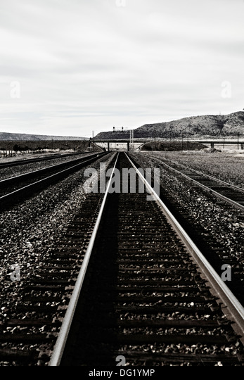 Train Track Going into the Distance, Arizona, USA - Stock Image