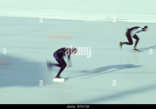 Male speed skaters in action - Stock Image