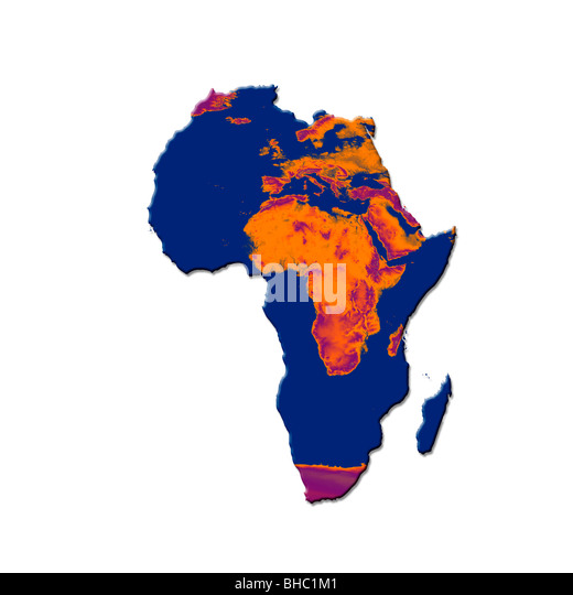 Map of Africa with a burnt image of Africa and Europe overlaid. Conceptual image representing global warming and - Stock Image