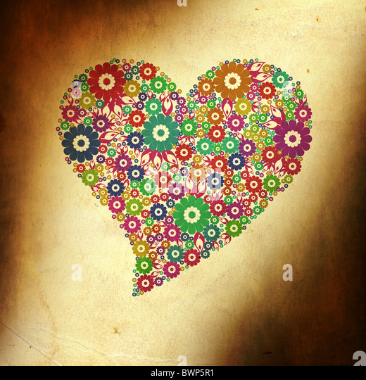 Grunge background with colorful heart of flower - Stock Image