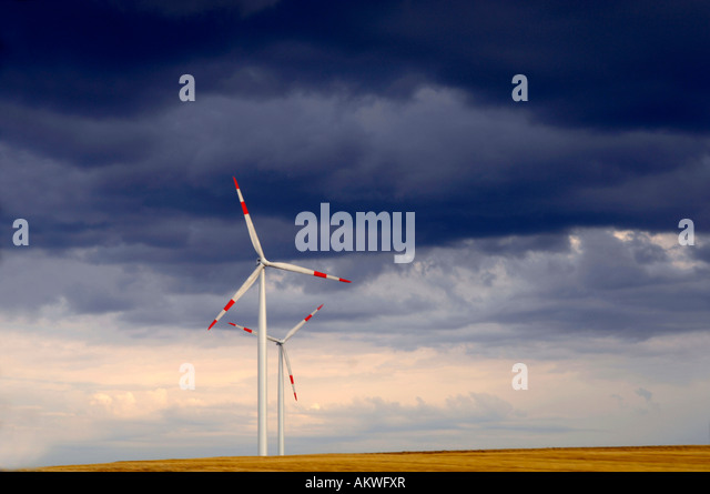 Germany, Baden-Wuerttemberg, Swabian Mountains, Wind turbines - Stock Image