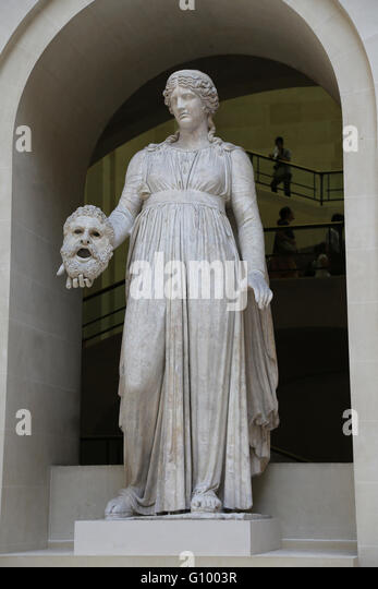 Melpomene, Muse of tragedy. 1st c. BC-1st c. AD. Marble. Rome, Italy. Louvre Museum. Paris. France. - Stock Image
