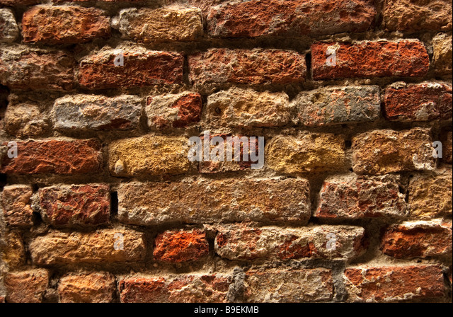 Ancient brick wall in Venice Italy - Stock Image