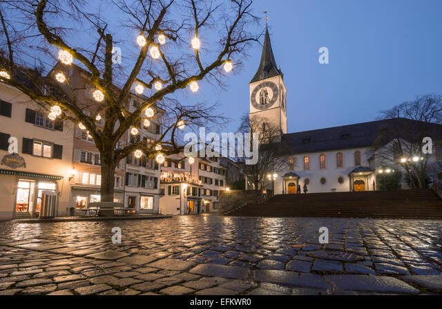 Christmas illumination, St. Peters Church, Zurich, Switzerland - Stock Image