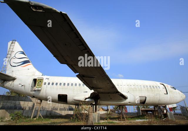 Abandoned fuselage of a jet passenger airliner. - Stock Image
