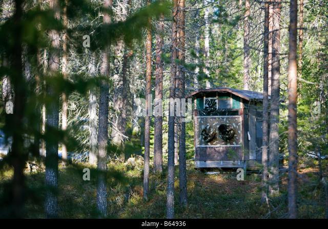 Finland, Kuikka Lake, near Kuhmo. Arcticmedia. Centre for tourism and wildlife photography, Hide. - Stock Image