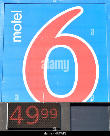 Close up of sign for Motel 6 Motel Chain in Texas includes room price - Stock Image
