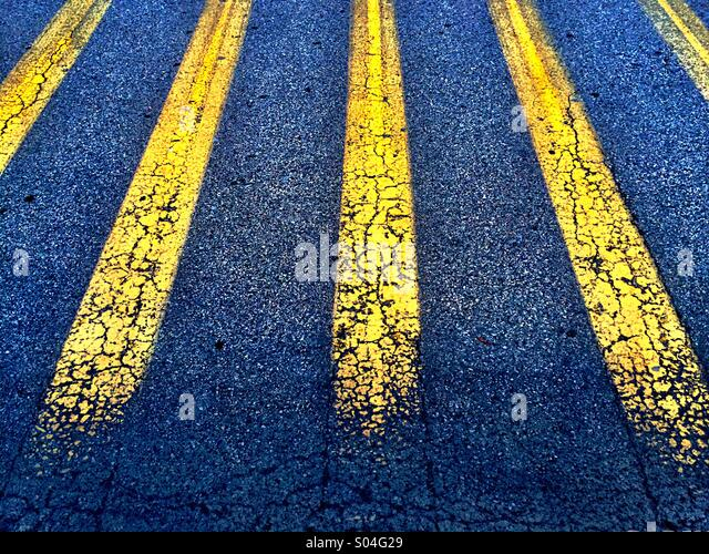 Painted lines in perspective - Stock Image