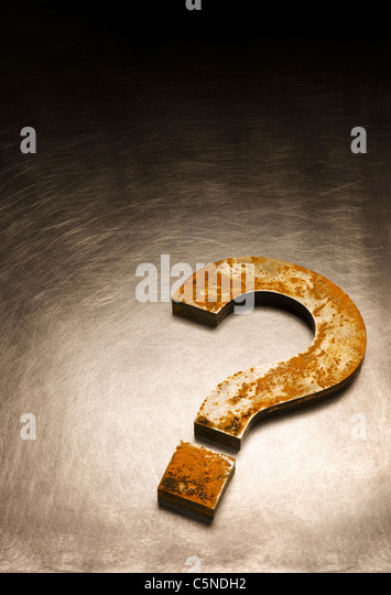A question mark made out of metal - Stock Image