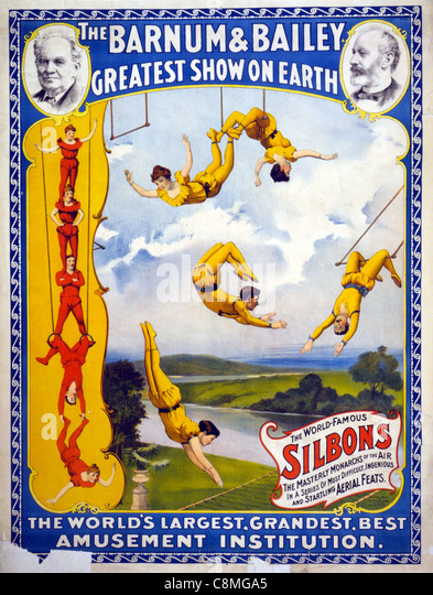 The Barnum & Bailey greatest show on earth The world's largest, grandest, best amusement institution - Stock Image
