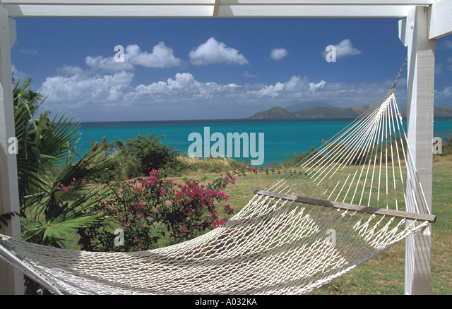 White hammock tropical shore - Stock Image