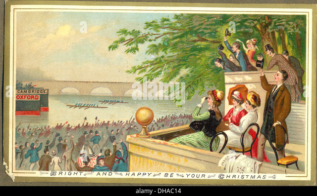 Christmas greetings card showing Oxford and Cambridge boat race - Stock Image