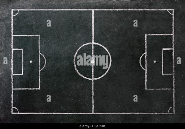 Football Pitch Drawn on a Chalkboard. - Stock-Bilder