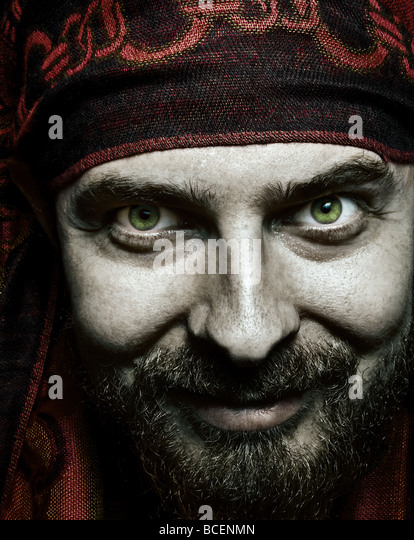 Close up portrait of funny bizzare spooky man - Stock Image