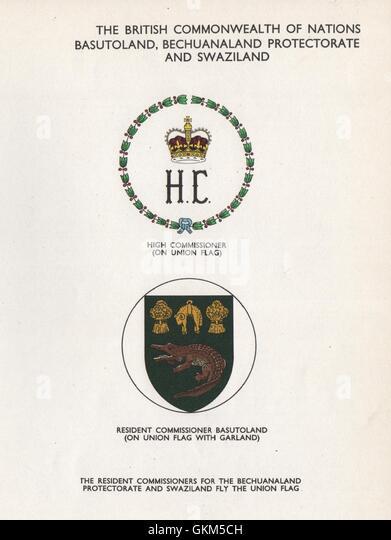 BASUTOLAND, BECHUANALAND & SWAZILAND FLAGS. High/Resident Commissioner, 1958 - Stock Image