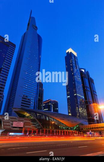 Modern architecture of metro train station on Sheikh Zayed Road in Dubai. - Stock-Bilder