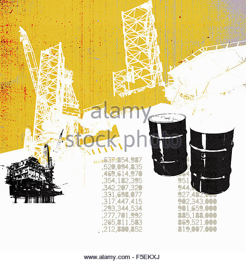 Oil barrels and oil production platform with stock prices - Stock Image