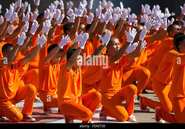 Dancing Inmates,Maximum Security Prison,Cebu City,Philippines - Stock-Bilder