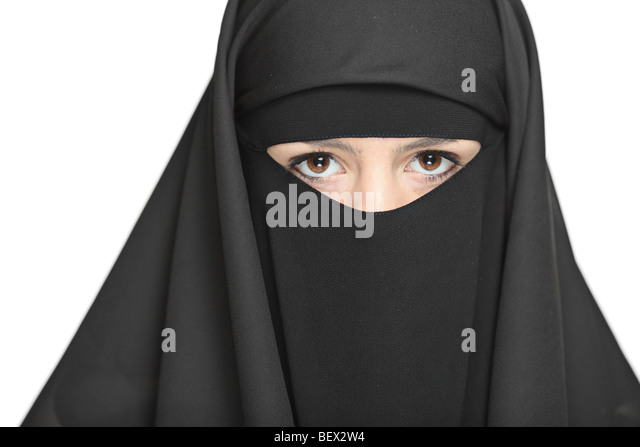 A veiled woman isolated on a white background - Stock Image