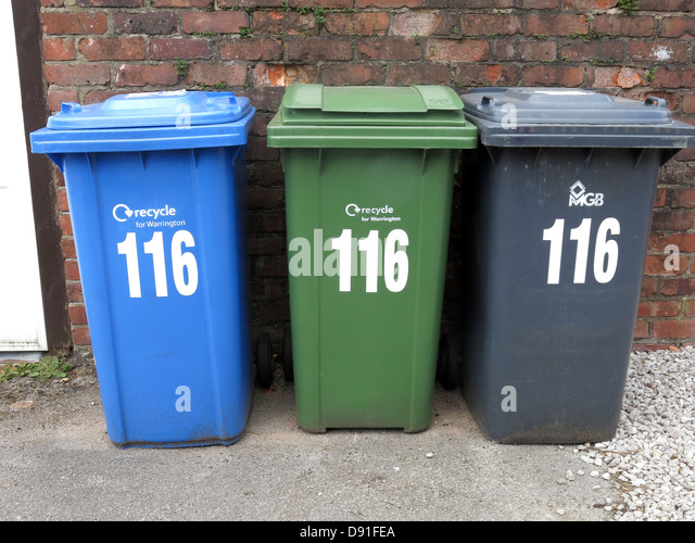 Too many bins and times to recycle domestic waste - Stock Image