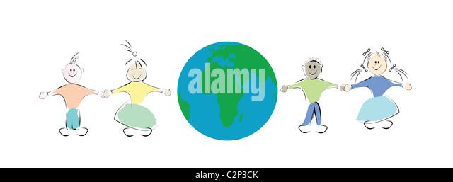 kids and globe illustration - Stock Image