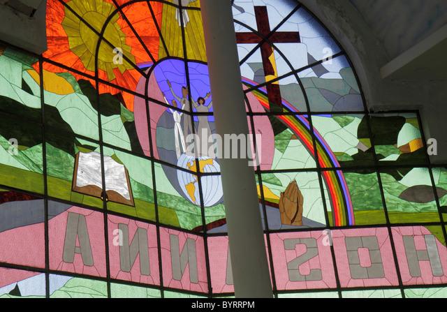 Panama Panama City Bella Vista Via Espana Hosanna Church Christian revival evangelical religion stained glass window - Stock Image