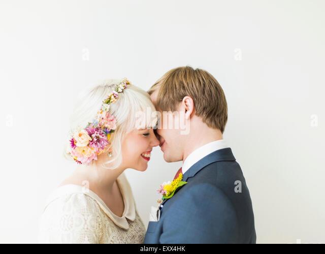 Portrait of newlywed couple - Stock Image