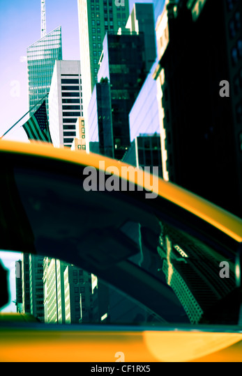 Modern architecture of buildings along 42nd Street in Midtown Manhattan, New York, United States of America - Stock Image