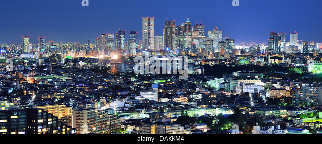 Tokyo, Japan Panorama looking towards the Shinjuku financial district from the Ebisu district. - Stock Image