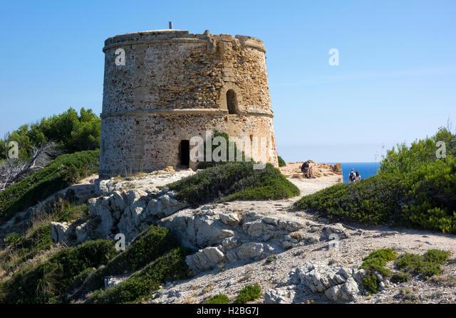 Torre des Matzoc 1751(watch tower). Llevant Natural Park. Artà. Mallorca Island. Spain - Stock Image