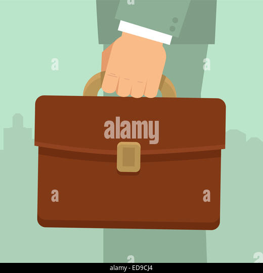 Businessman's hand holding briefcase - business concept in flat style - Stock-Bilder