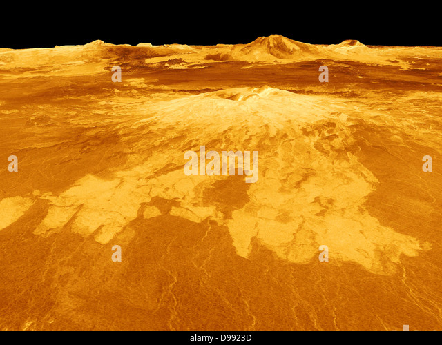 Computer-generated view of surface of the planet Venus dominated by the volcano Sapas Mons. Lava flows extend for - Stock Image