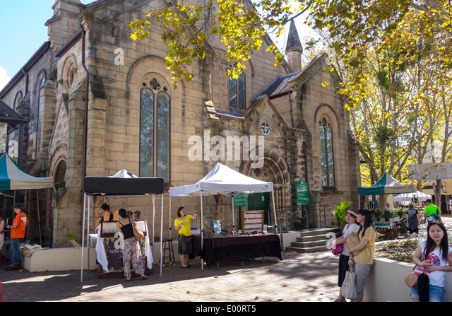 Sydney Australia NSW New South Wales Paddington Oxford Street Paddington Markets shopping display traders vendors - Stock Image