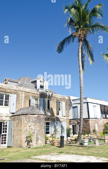 Copper and Lumber Store Hotel at Nelsons Dockyard National Park at English Harbour Antigua - Stock Image
