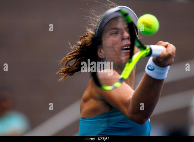 New York, United States. 28th Aug, 2017. US Open Tennis: New York, 28 August, 2017 - Johanna Konta of Great Britain - Stock Image