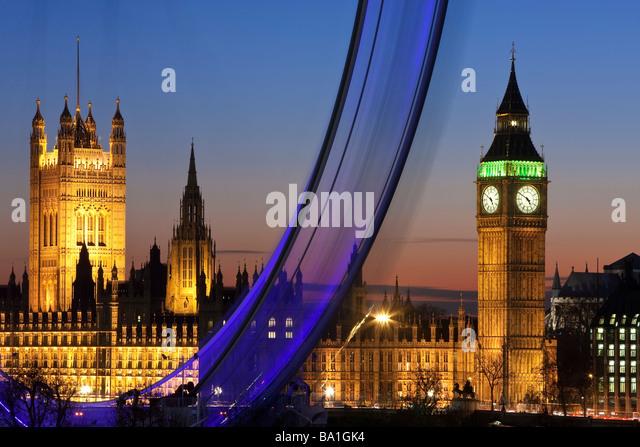 Millennium Ferris Wheel (London Eye) and Big Ben, London, England, United Kingdom - Stock Image