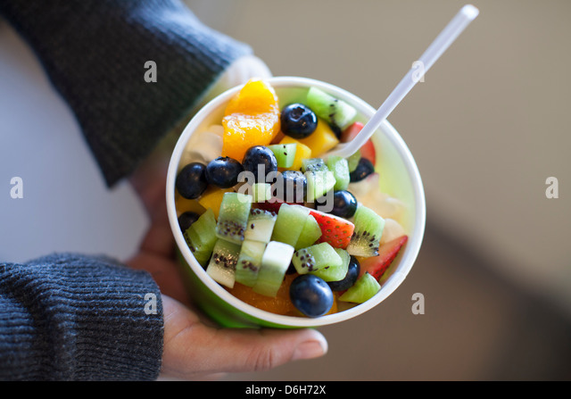 Close up of frozen yogurt - Stock Image