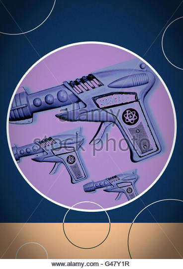 Ray gun repeat space tin toy design atomic blaster illustration - Stock Image