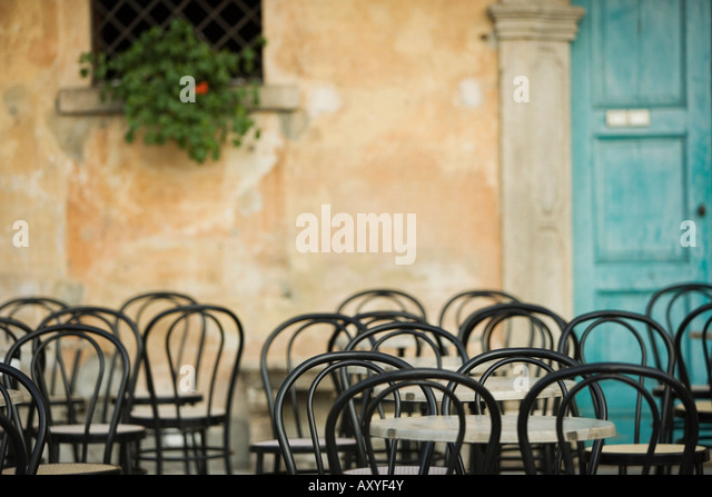 Empty tables at cafe, Lake Maggiore, Italy, Europe - Stock-Bilder