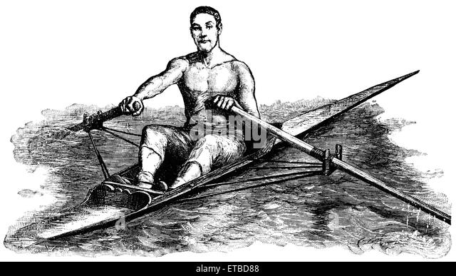Man Rowing, England, 'Classical Portfolio of Primitive Carriers', by Marshall M. Kirman, World Railway Publ. - Stock Image