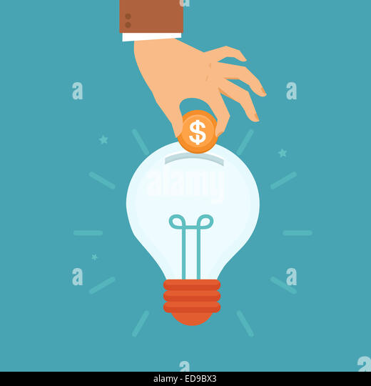 Idea attracting money concept in flat style - man's hand putting golden coin inside the light bulb - investment - Stock-Bilder
