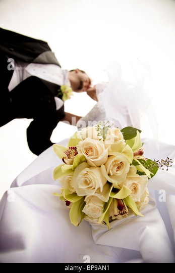 Stoney Creek, Ontario, Canada; A Low Angle View Of A Bride And Groom Kissing - Stock-Bilder