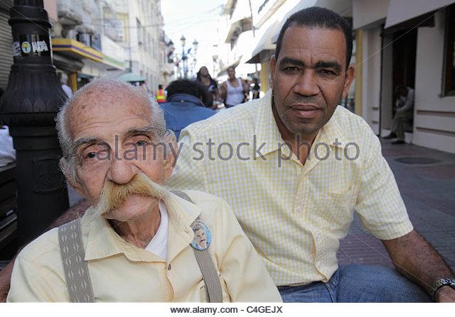 Santo Domingo Dominican Republic Ciudad Colonial Calle el Conde Peatonal Hispanic mestizo man elderly senior moustache - Stock Image