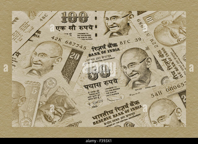 Many Indian Rupees bills with the portrait of Mahatma Gandhi lying side by side, India, Asia - Stock-Bilder