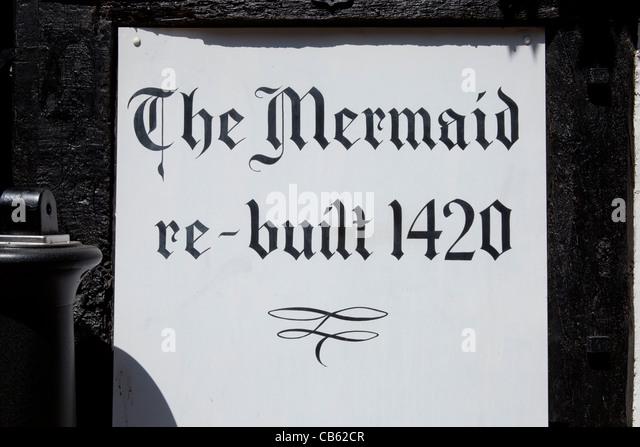 'Re-built 1420' sign, Mermaid Inn, Mermaid Street, Rye, East Sussex - Stock Image