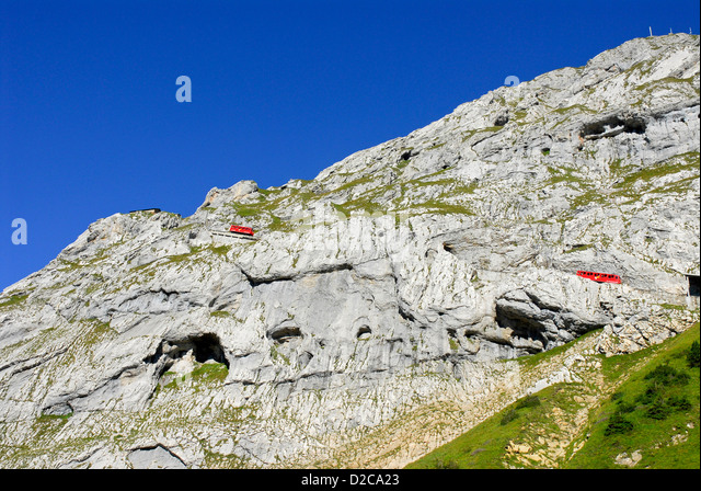 Cogwheel Trains, Mt. Pilatus, Switzerland - Stock Image