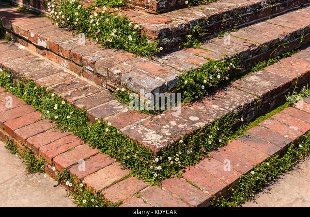 Brick steps at Sissinghurst Gardens, Kent, UK - Stock Image