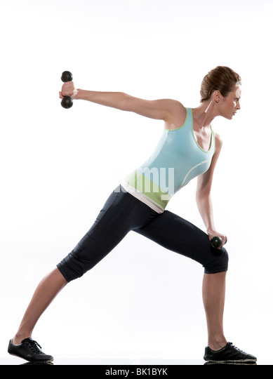man doing workout Lunges Triceps Extension on white isolated background. Start standing up straight. Hold the weights - Stock Image