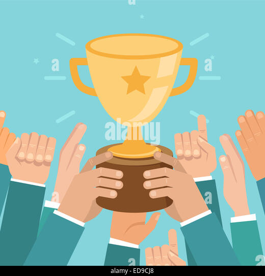 Team victory concept in flat style - business competition illustration - Stock Image
